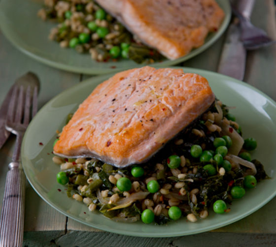 Salmon pearl barley recipe