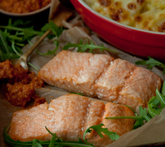 Baked salmon garlic potatoes recipe
