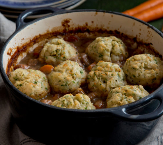 Beef beer herb dumplings