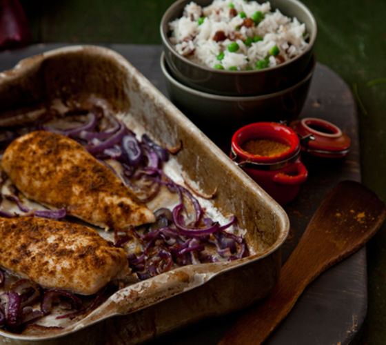 Chicken with rice red onion recipe
