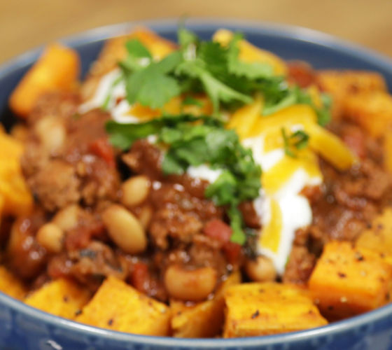 Chilli with Sweet Potato Cubes