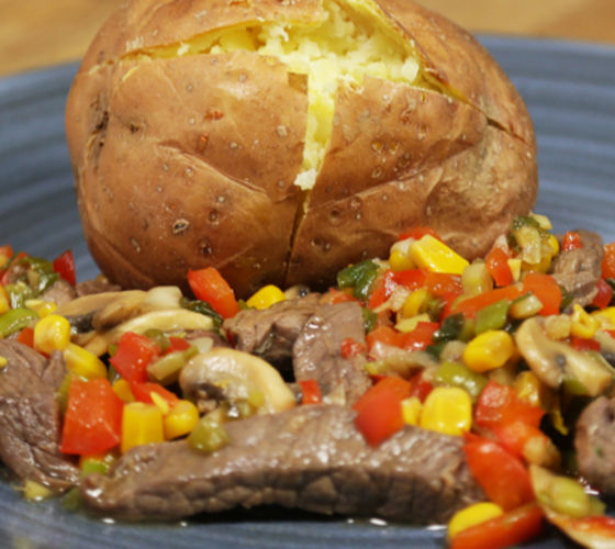 Marinated Steak Baked Potato