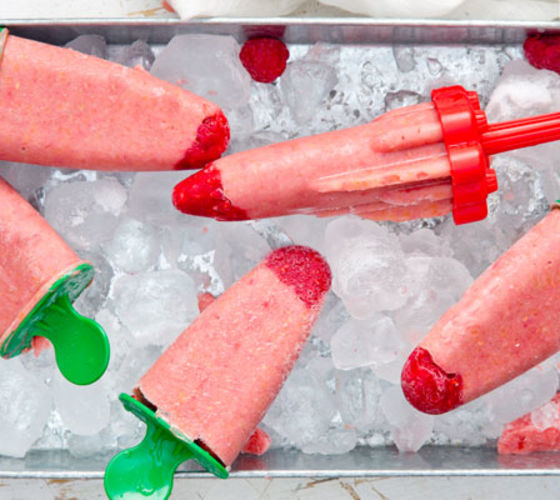 Peach And Raspberry Yogurt Ice Pops