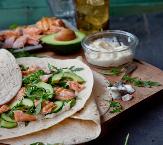 Salmon pickled cucumber wrap recipe