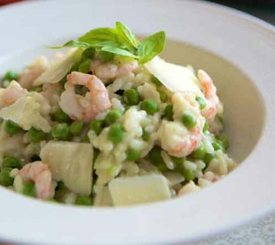 Pea and prawn risotto recipe