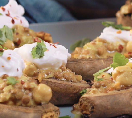 Stuffed sweet potato skins recipe