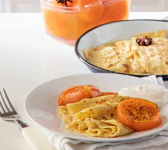 Oat crepes with clementines