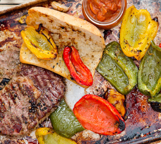 Grilled rib eye steak sambos with grilled peppers recipe