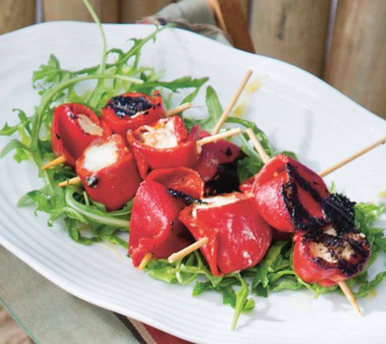 Roasted pepper and goats cheese skewers recipe