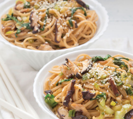 Shiitake noodles with ginger and sesame recipe
