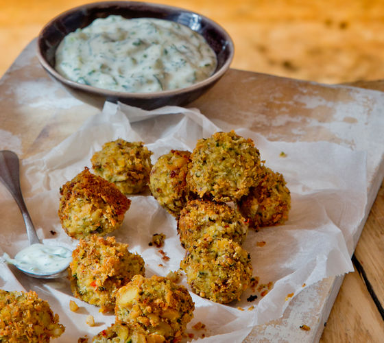 SuperValu The Happy Pear Chickpea Fritters with Summer Tzatziki