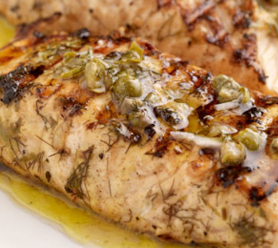 Barbecued Salmon with Lemon Herb Marinade