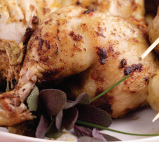 Barbecue Whole Chicken with Chilli and Ginger and Baby Potato Skewers