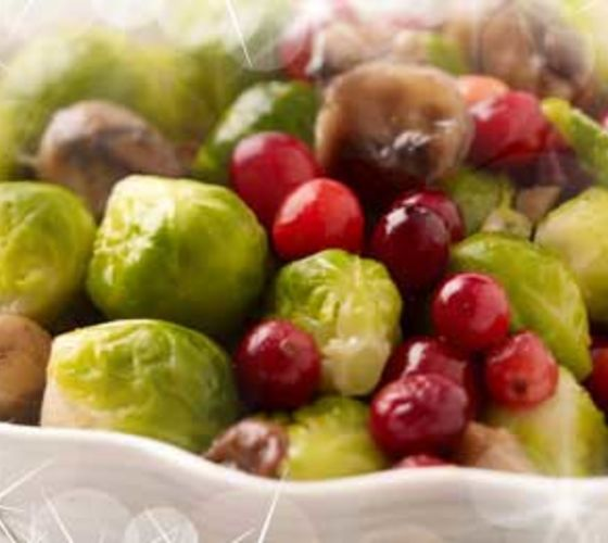 Brussels Sprouts with Caramelised Chestnuts & Cranberries
