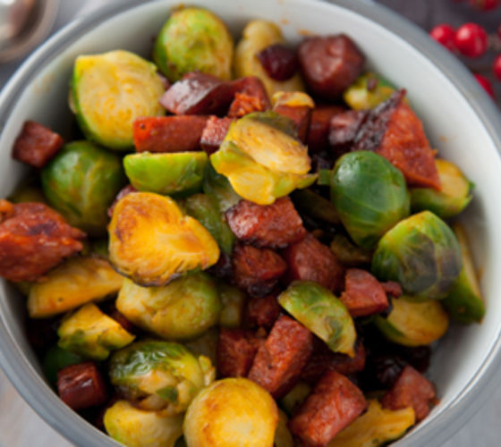 Brussels Sprouts with Caramelised Chorizo, Cranberries and Bread