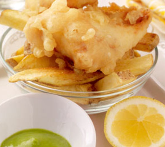 Cod & Chips with Pea Puree