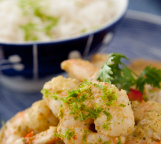 Hot Garlic Prawns with Chilli Lime Yogurt Dressing