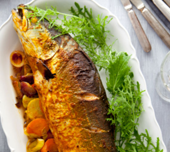 Indian Spiced Whole Baked Salmon with Saffron Pilau Rice