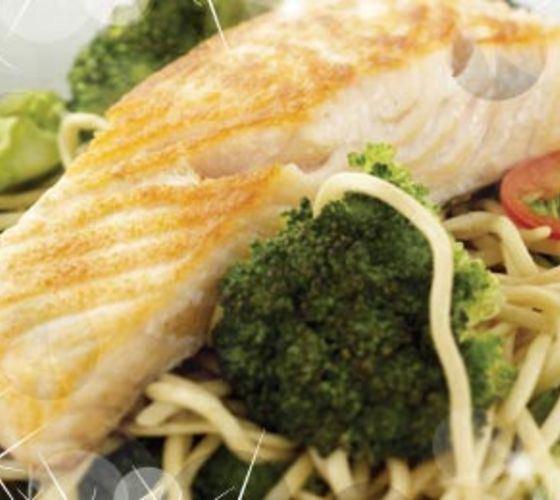 Pan Seared Salmon with Chilli Noodles