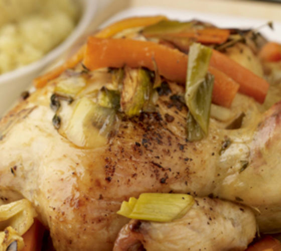 Slow Roasted Garlic Chicken with Vegetable and Thyme Broth and Mustard Mash