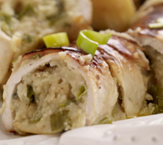 Stuffed Chicken Roulade with Honey Glazed Vegetables