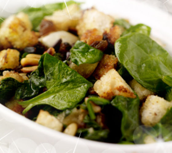 Sautéed Spinach with Sultanas, Pine Nuts & Breadcrumbs