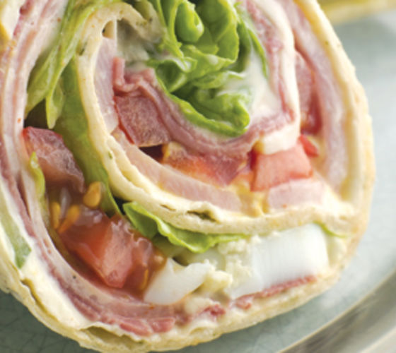 Tortilla Wraps with Ham, Cheese & Tomato