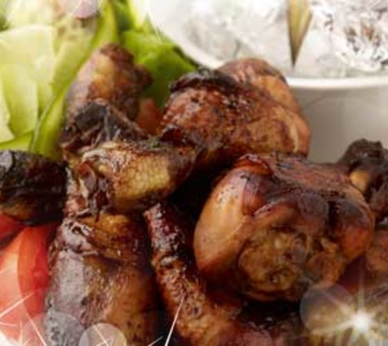 Sweet and Sticky Chicken Drumsticks, Baked Potato and Salad