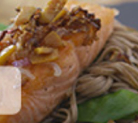 Salmon with Soba Noodle Salad and Ginger Dressing
