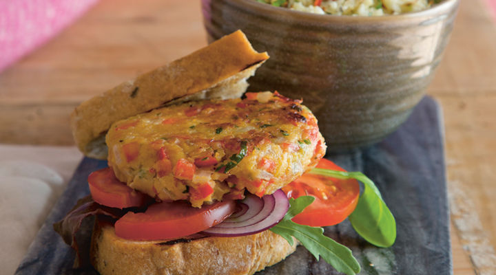 Chickpea burger cauliflower rice recipe2