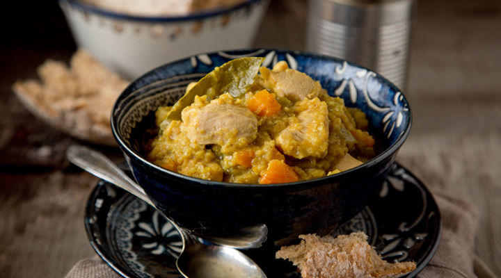 Chunky chicken red lentil stew recipe