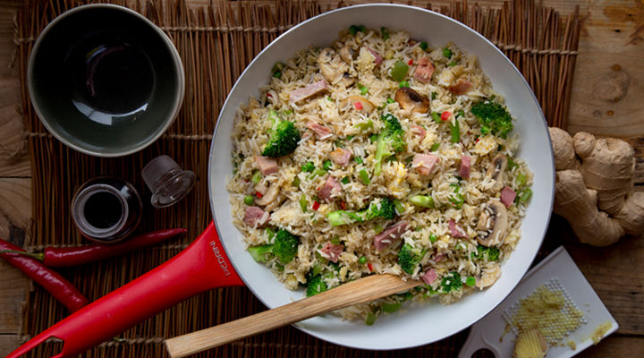 Ham egg stir fry recipe1
