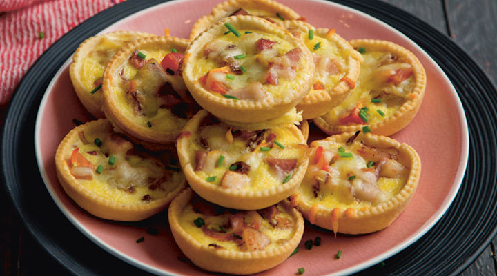 Ham sun dried tomatoes mini quiches recipe