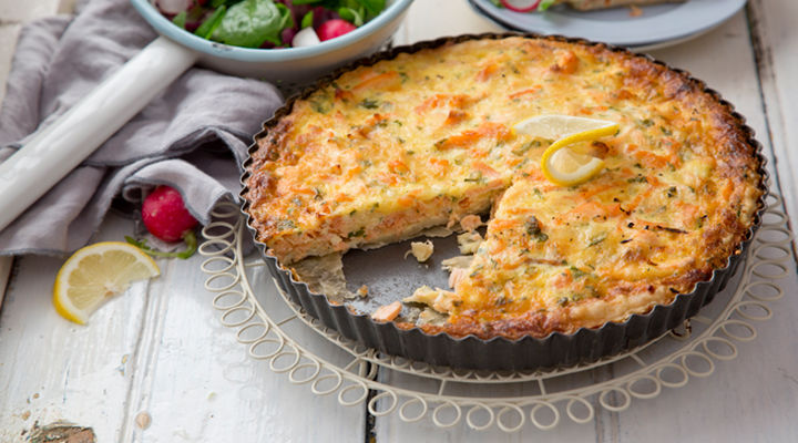 Salmon cheddar quiche recipe