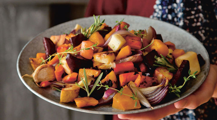 Sweet roasted winter root veg rosemary thyme recipe
