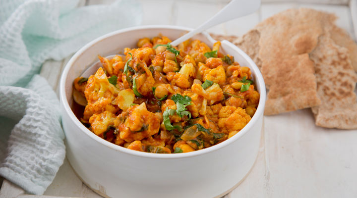 Tikka masala chickpeas cauliflower spinach recipe