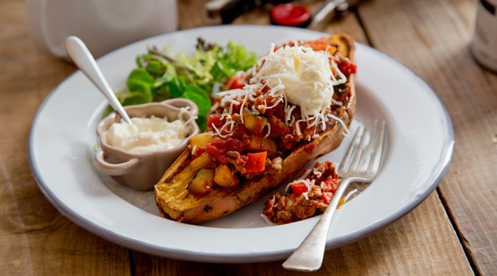 Baked sweet potato chilli recipe