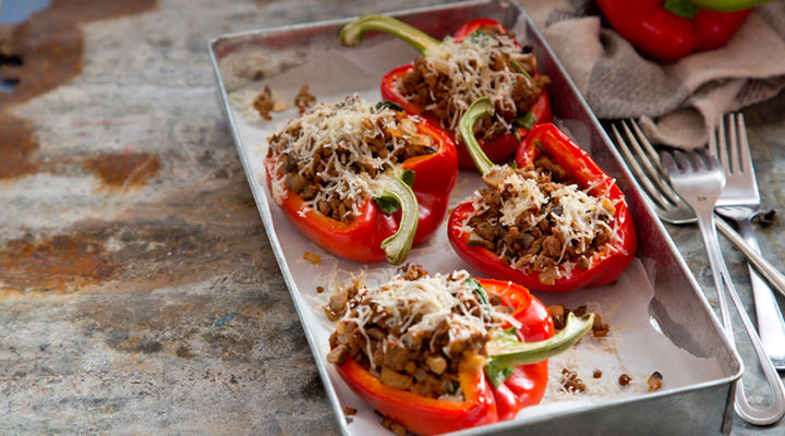 Spinach beef stuffed peppers recipe