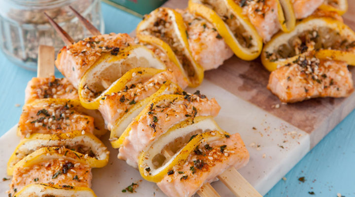 Martin fish spiced salmon kebabs
