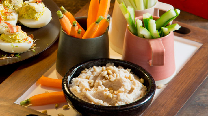 Roast Garlic and Butter Bean Dip with Crunchy Veg