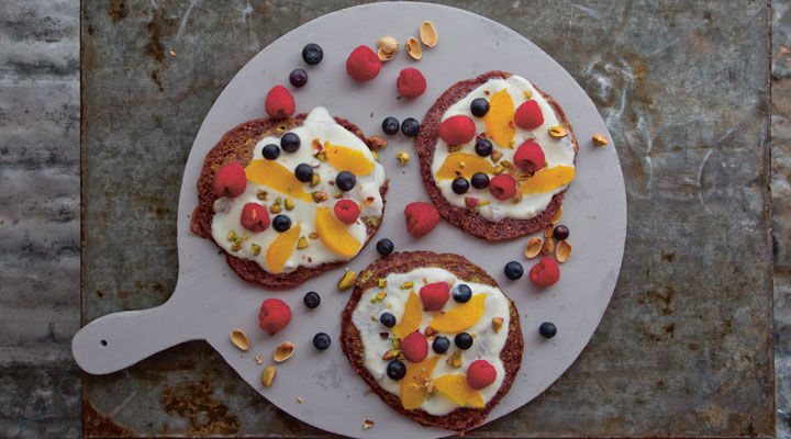 Purple Pancakes with Orange and Pistachio Yogurt