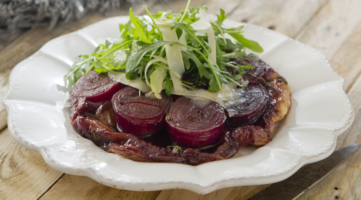 Red Onion Tarte Tatin with Rocket and Parmesan