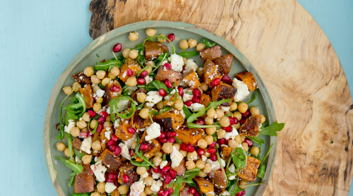 Roast Sweet Potato Chickpea And Feta Salad With Pomegranate Supervalu
