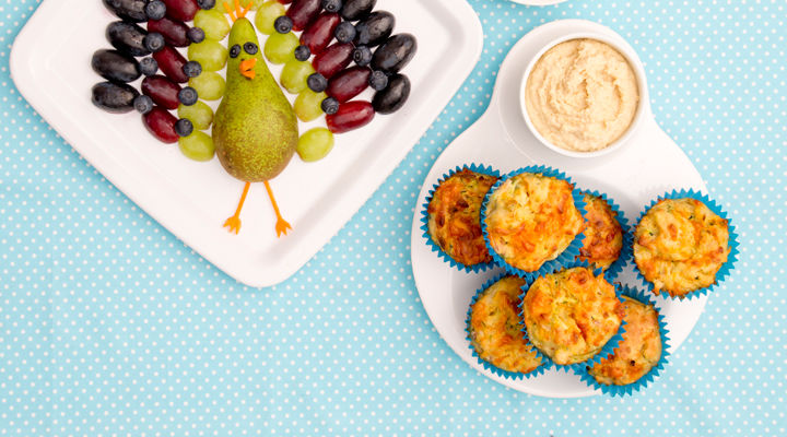 Savoury ham and veg muffins with hummus