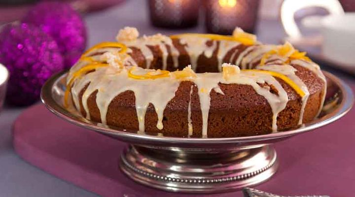 Orange glazed ginger cake