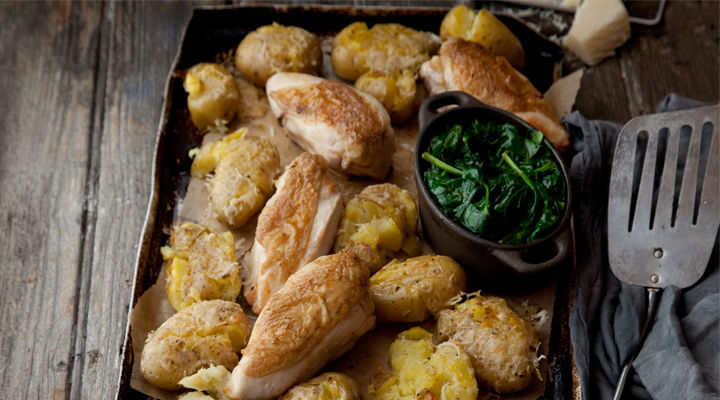 Pan fried chicken wilted spinach recipe