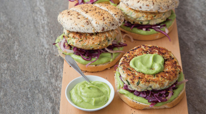 Courgette chicken fennel burgers
