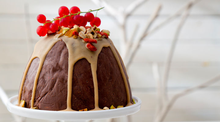 Fruit and nut chocolate christmas pudding