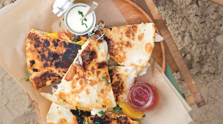 Grilled chicken and nectarine cheese quesadillas recipe
