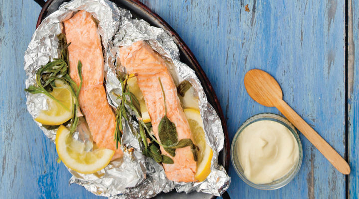 Herb stuffed salmon darnes recipe